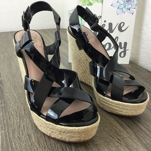 Vince Camuto  Black Leather Espadrille Wedge